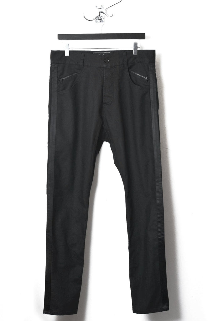 UNCONDITIONAL SS18 Black denim, black tuxedo stripe drop crotch back zip jeans