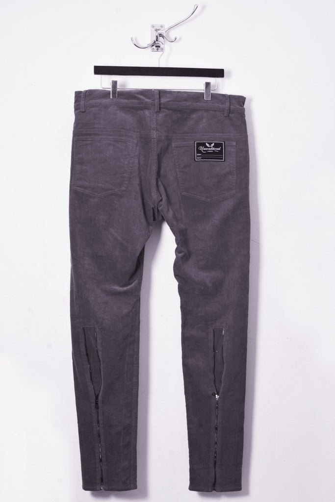UNCONDITIONAL Grey cord drop crotch back zip jeans