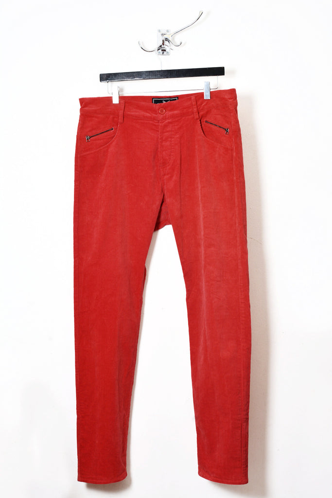 UNCONDITIONAL red cord drop crotch signature back zip jeans