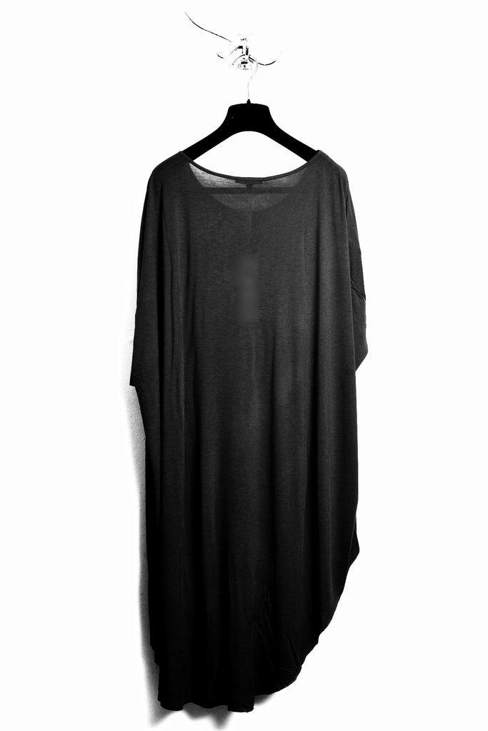 UNCONDITIONAL SS18 Black rayon signature long tail tee.