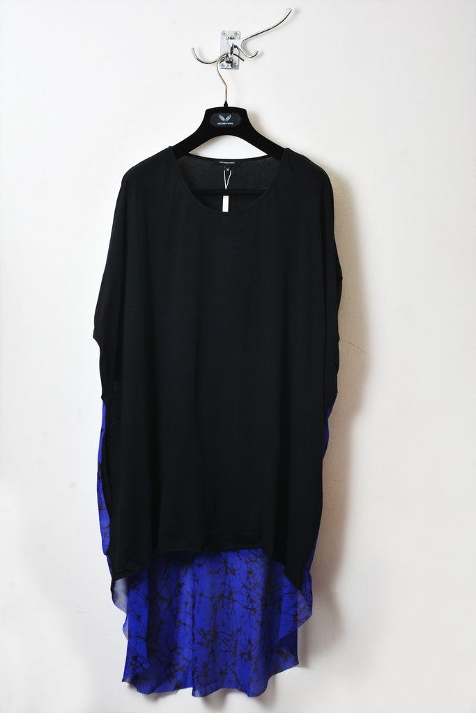 UNCONDITIONAL SS16 black with electric blue and electric print long tail tee with chiffon back.