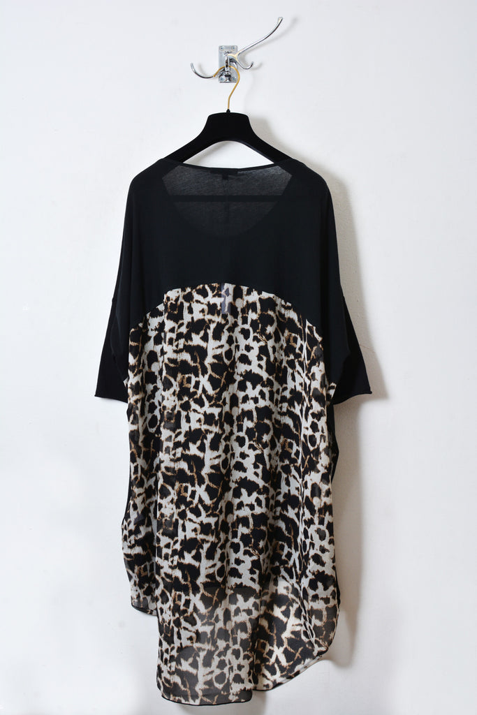 UNCONDITIONAL Black and leopard long tail tee with chiffon back.