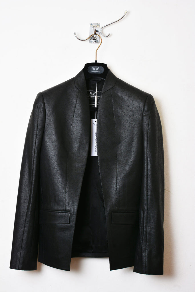 UNCONDITIONAL SS17 Black Matt , leather look, foiled cotton cutaway jacket.