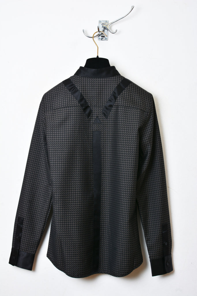 UNCONDITIONAL Brown and black jacquard with contrast braces shirt.