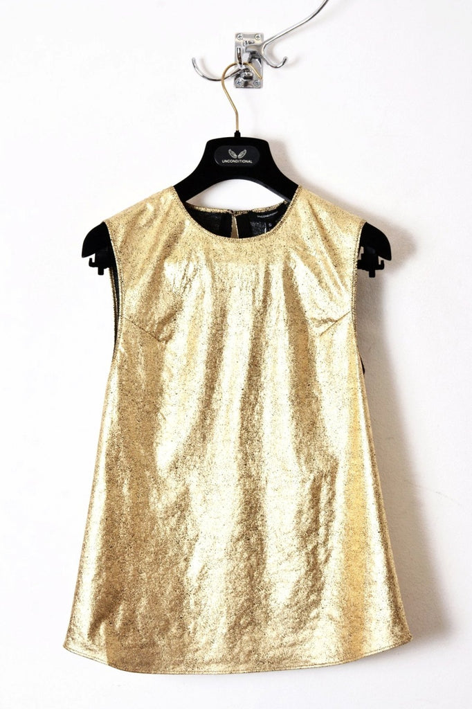 UNCONDITIONAL SS19 gold foiled fine cotton jersey foiled shell top