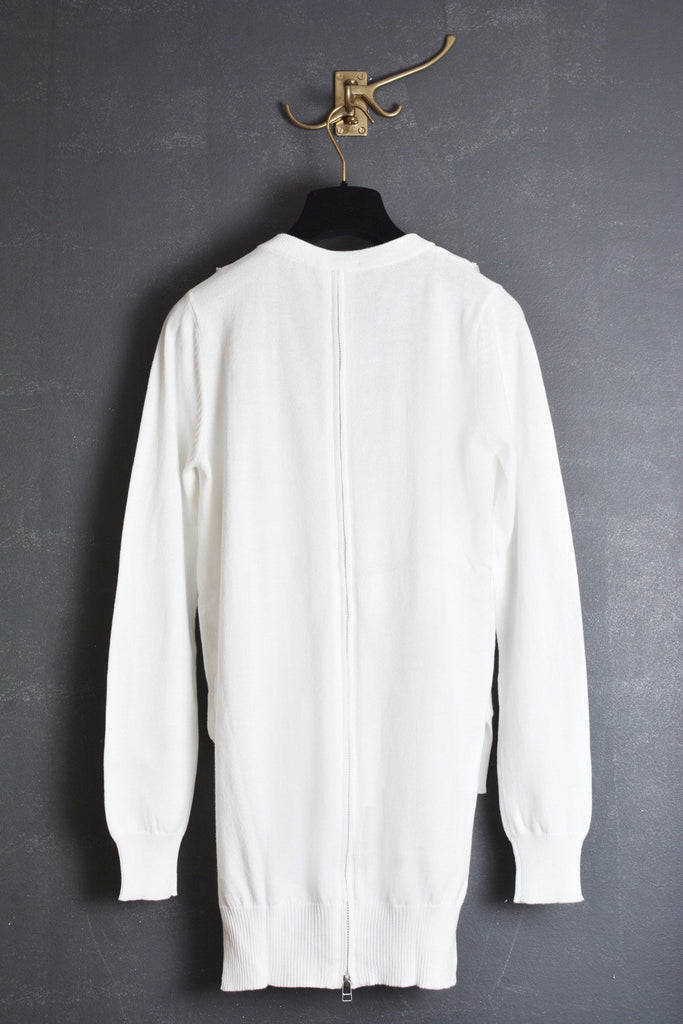 UNCONDITIONAL white long cotton cardigan with inserted zip details.