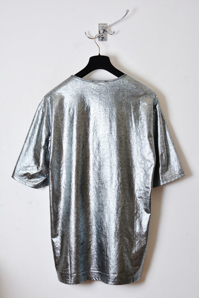 UNCONDITIONAL Dark silver short sleeved oversized foiled fine cotton tee.