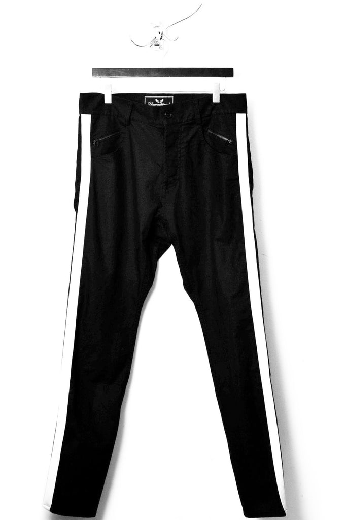 UNCONDITIONAL  black denim jeans with white silk tuxedo stripe. TR110TAPE-TUX