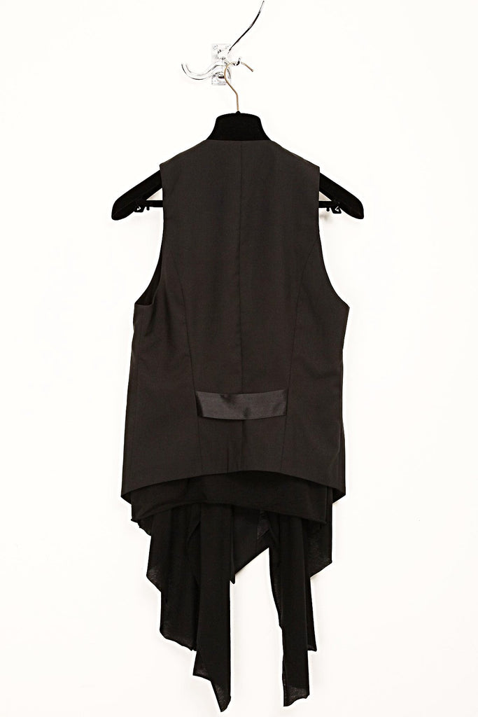 UNCONDITIONAL AW17 black low drape waistcoat.