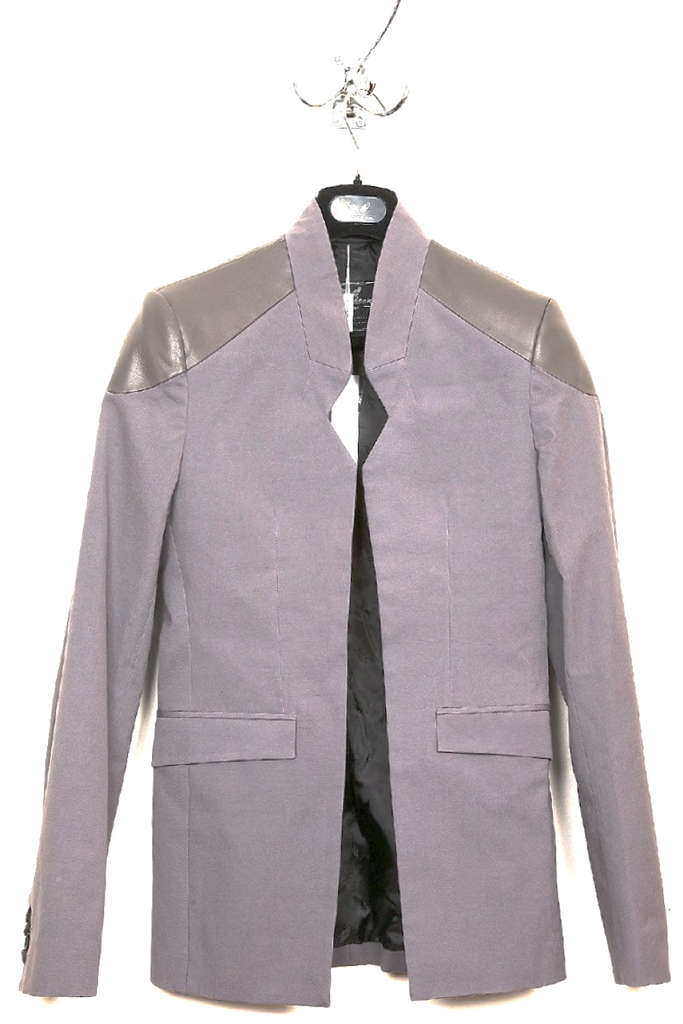 UNCONDITIONAL grey canvas and grey leather cutaway jacket with notch.