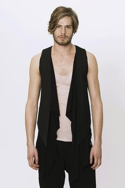 UNCONDITIONAL Signature black wool low drape waistcoat.