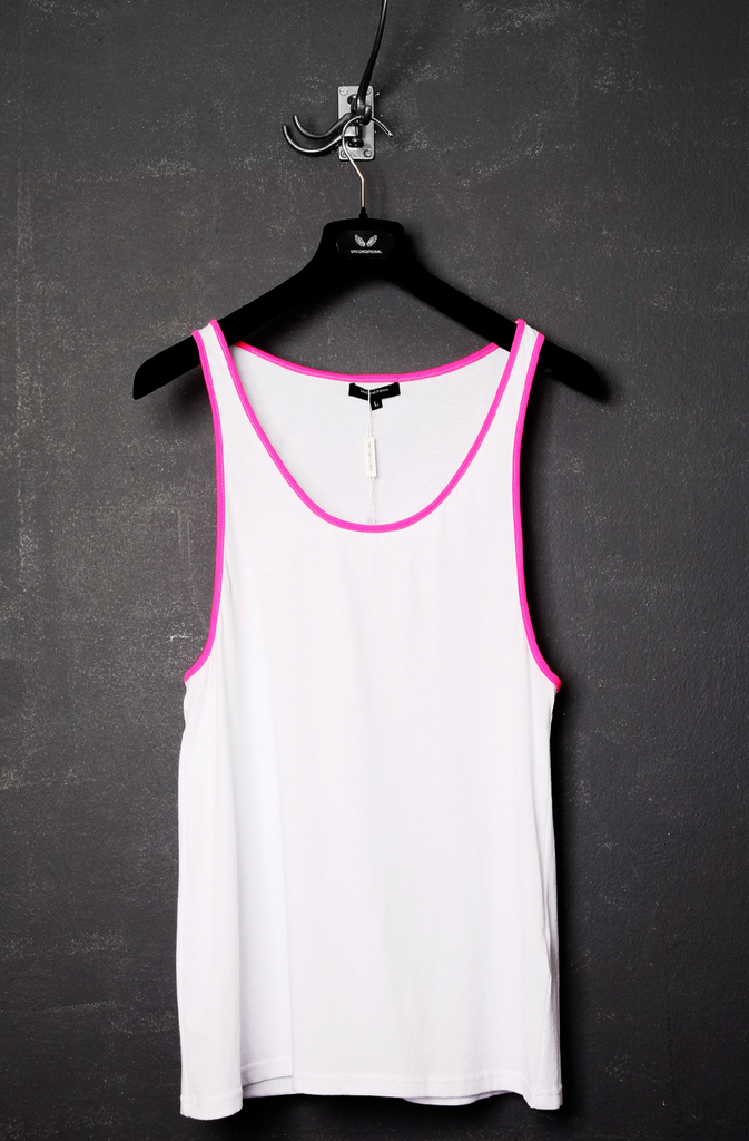 UNCONDITIONAL SS20 Our white classic vest, with pink Airtex contrasts