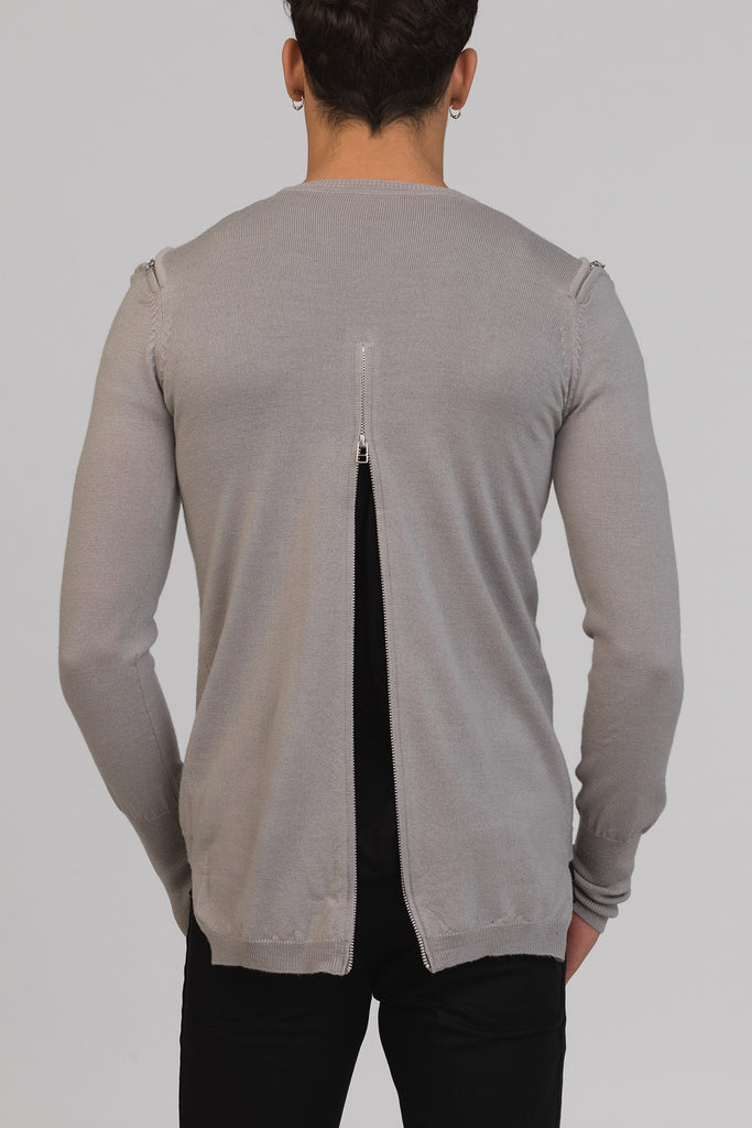 UNCONDITIONAL SS18 STONE zip-front , shoulder + back crew neck merino sweater