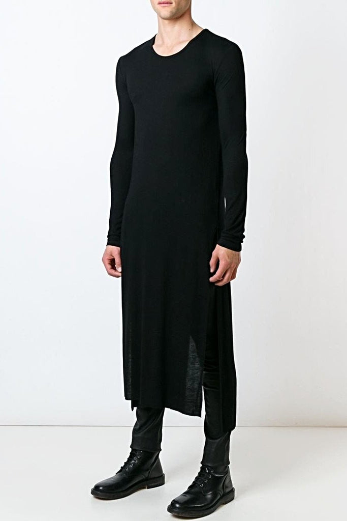 UNCONDITIONAL black full length long-sleeved tail T-shirt - code t400