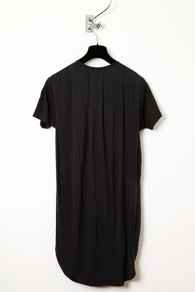 UNCONDITIONAL Black short sleeved tee with pleated back tail.