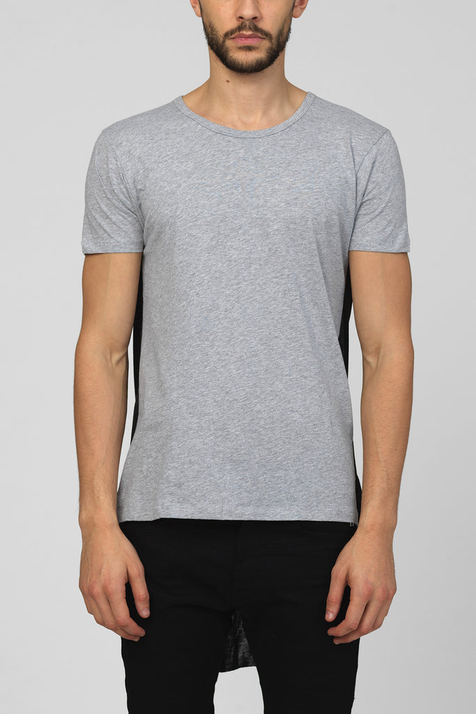 UNCONDITIONAL Flannel and charcoal grey short sleeve tee with contrast back tail.
