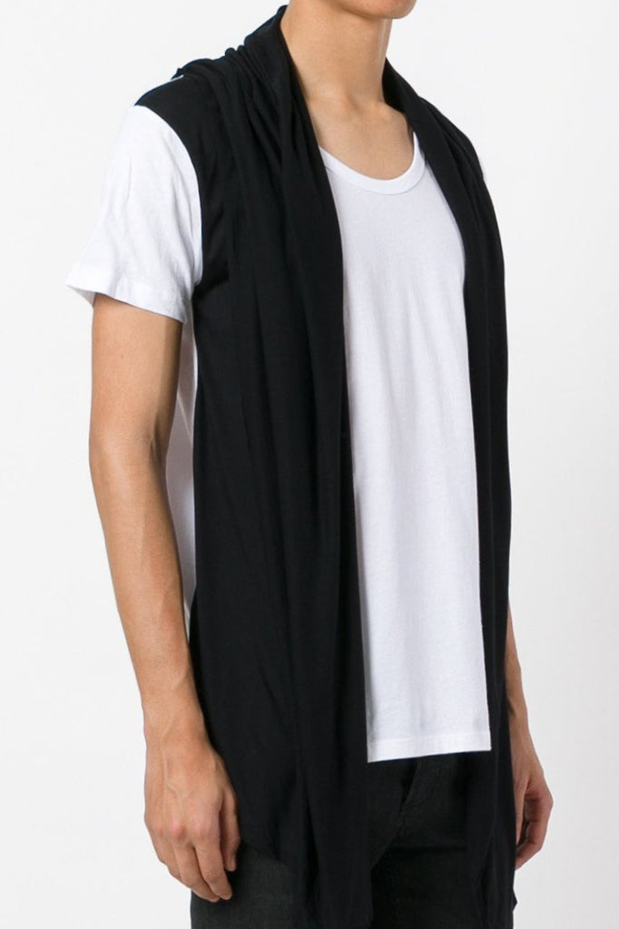 UNCONDITIONAL SS17 white with black contrast hooded cape waistcoat t-shirt.