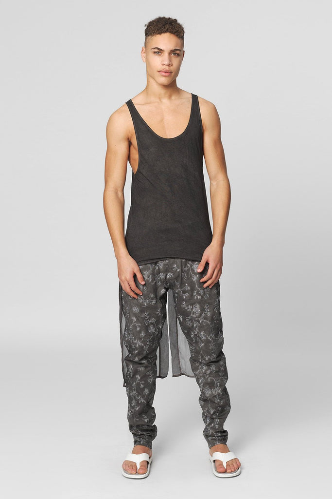 UNCONDITIONAL  military cold dye vest with georgette tail.