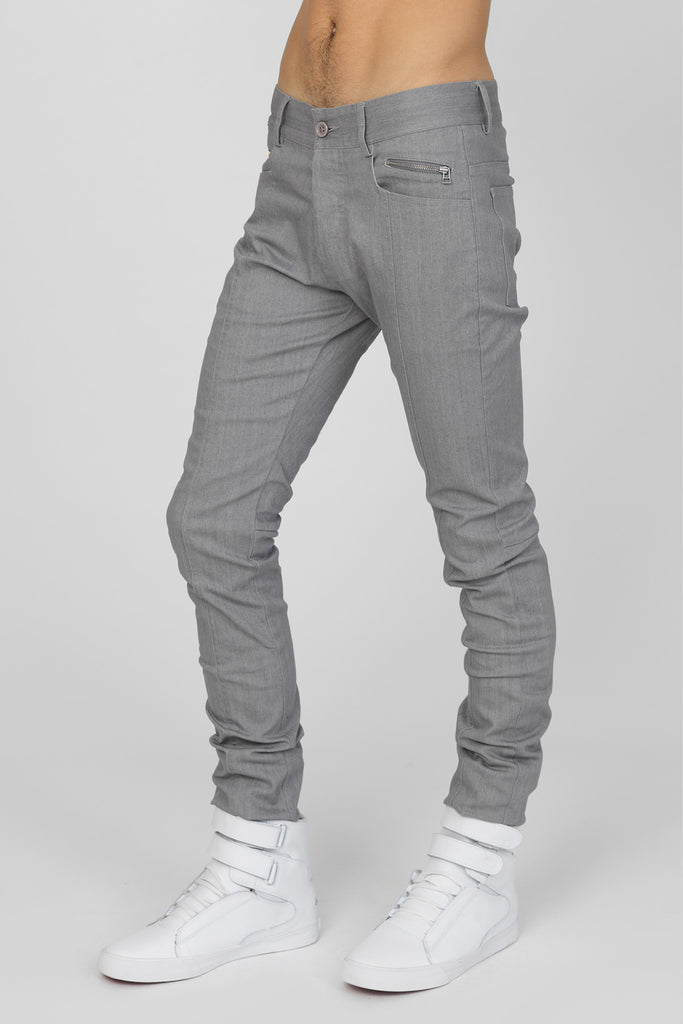 UNCONDITIONAL skinny silver grey stretch drill slim fit jeans.