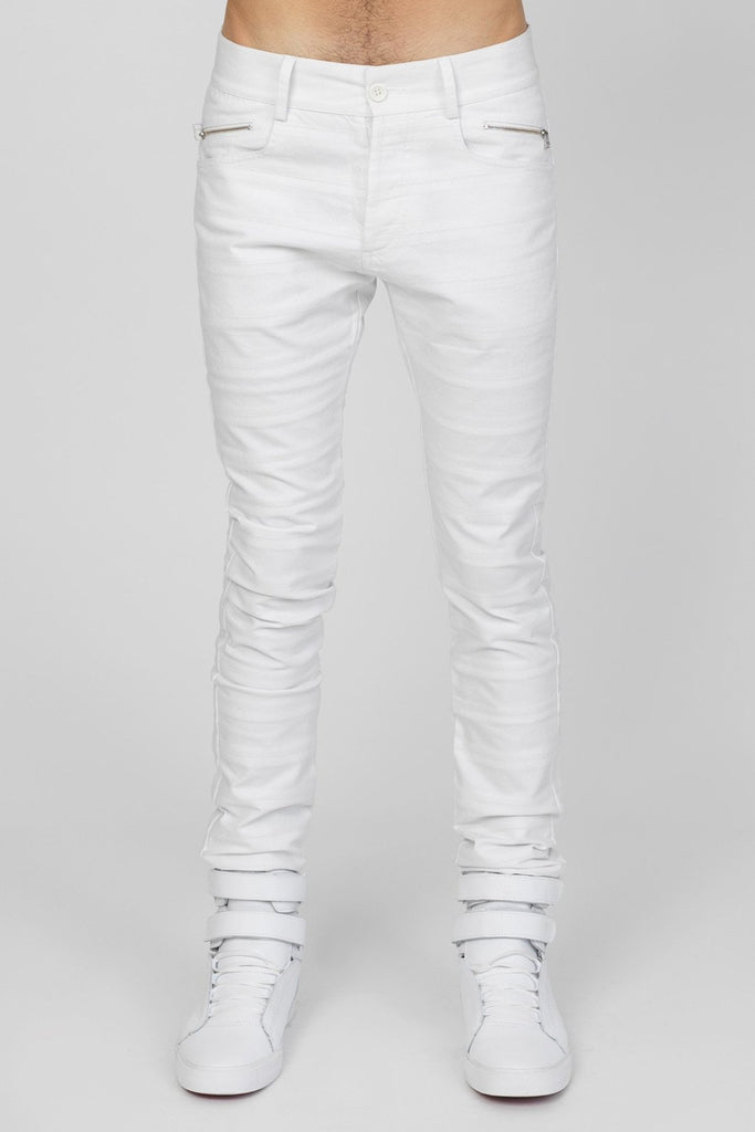 UNCONDITIONAL White stretch denim skinny cut striped panel jeans