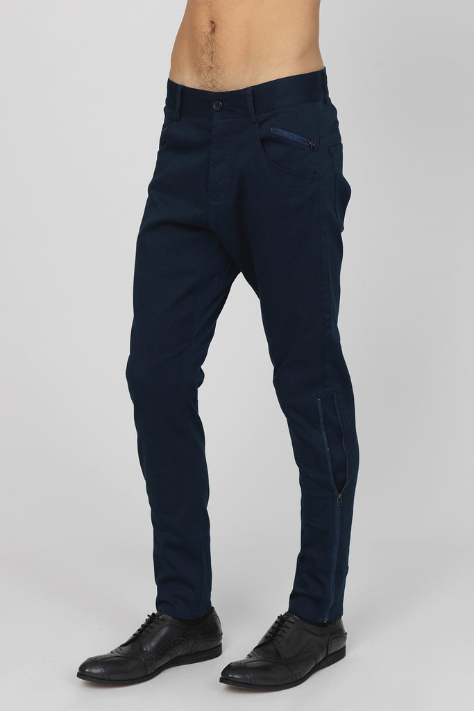 UNCONDITIONAL Midnight Blue side-zip drop crotch jeans