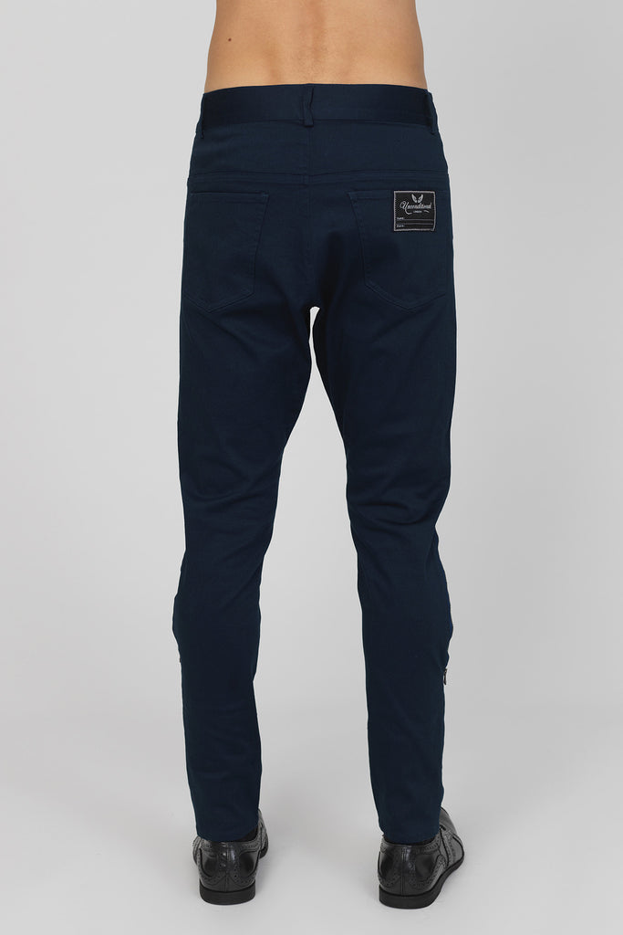 UNCONDITIONAL Signature midnight stretch cotton drill jeans with black side leg & pocket zips