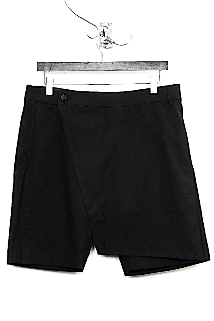 UNCONDITIONAL SS19 Black tailored wrap-flap 'skirt' shorts.