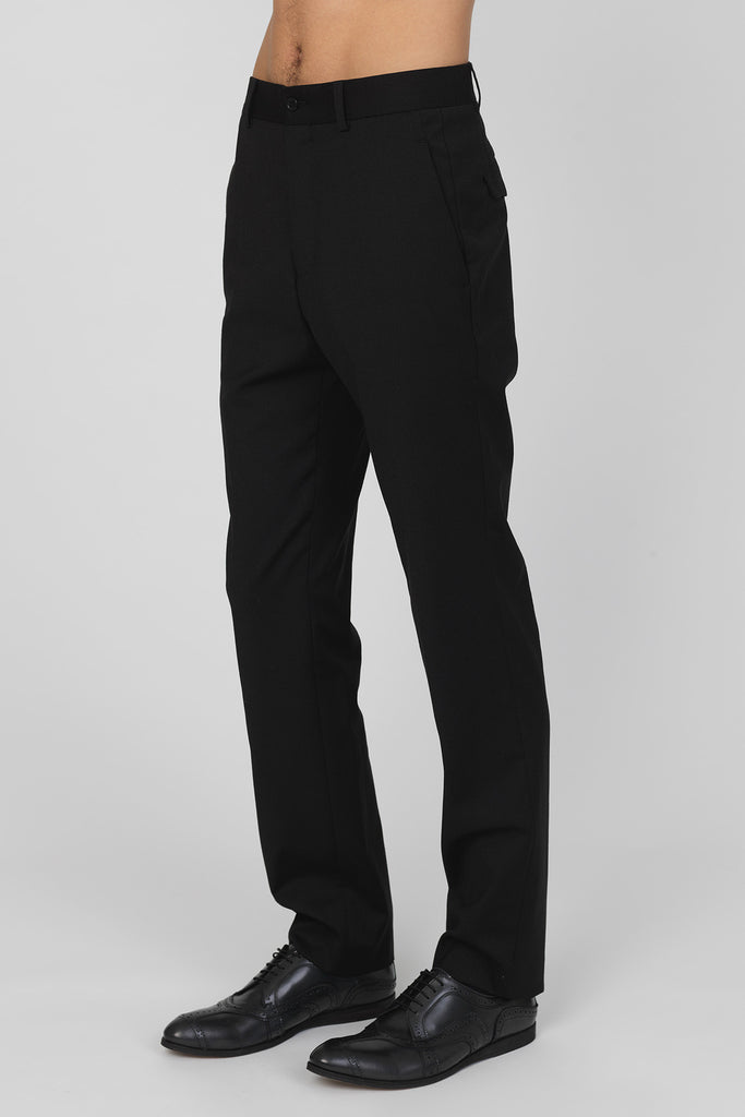 UNCONDITIONAL Black tailored wool classic cigarette trousers with historic back pocket