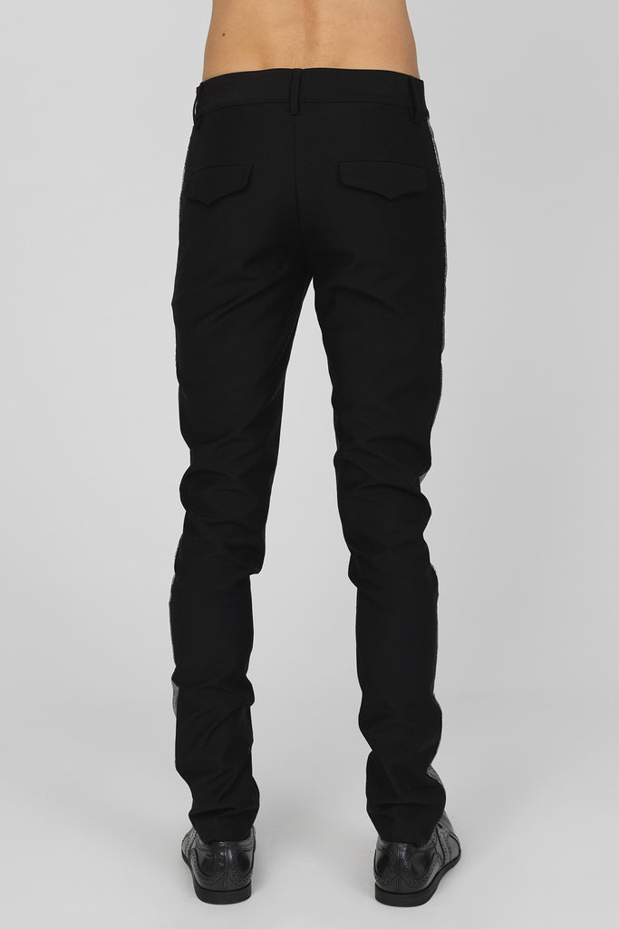 UNCONDITIONAL Black and Dark Silver tailored wool classic slim tux trousers with historic back pocket
