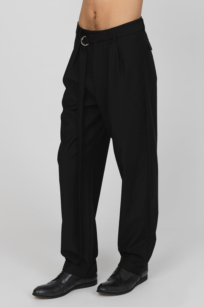 UNCONDITIONAL Black wool box pleat 'Hollywood' trousers with turn up