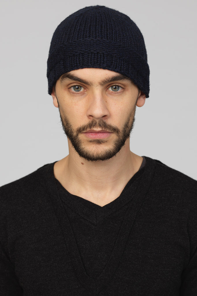 UNCONDITIONAL MIDNIGHT MERINO WOOL SKULL CAP WITH LEFT KNIT BORDER