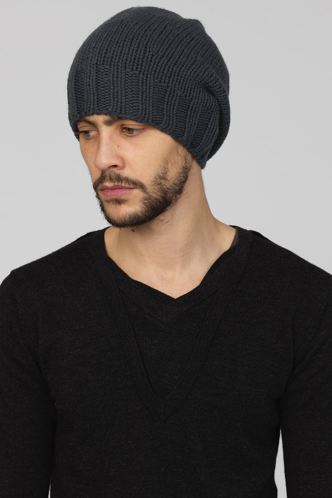 UNCONDITIONAL Dark Grey merino handknit rib border cap