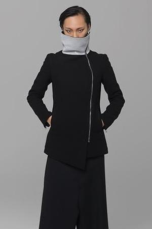 UNCONDITIONAL Black wool Funnel neck coat with irridescent white leather panelling
