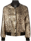 UNCONDITIONAL Ladies Gold snake foiled textured varsity jacket