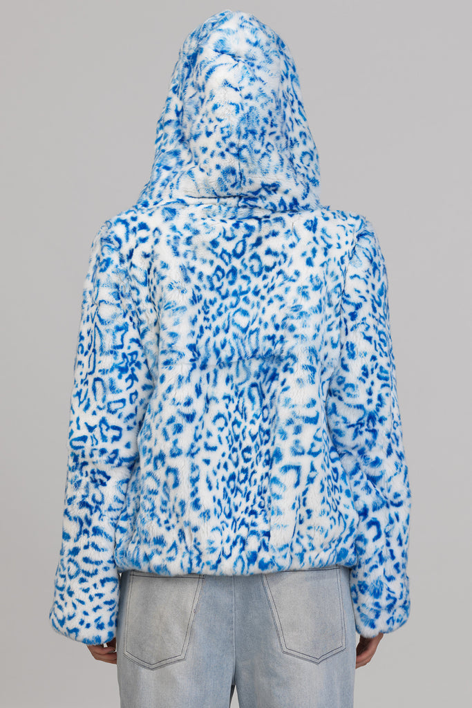 UNCONDITIONAL's SS17 WHITE REX RABBIT HOODED FUR JACKET PRINTED WITH BLUE LEOPARD SPOTS