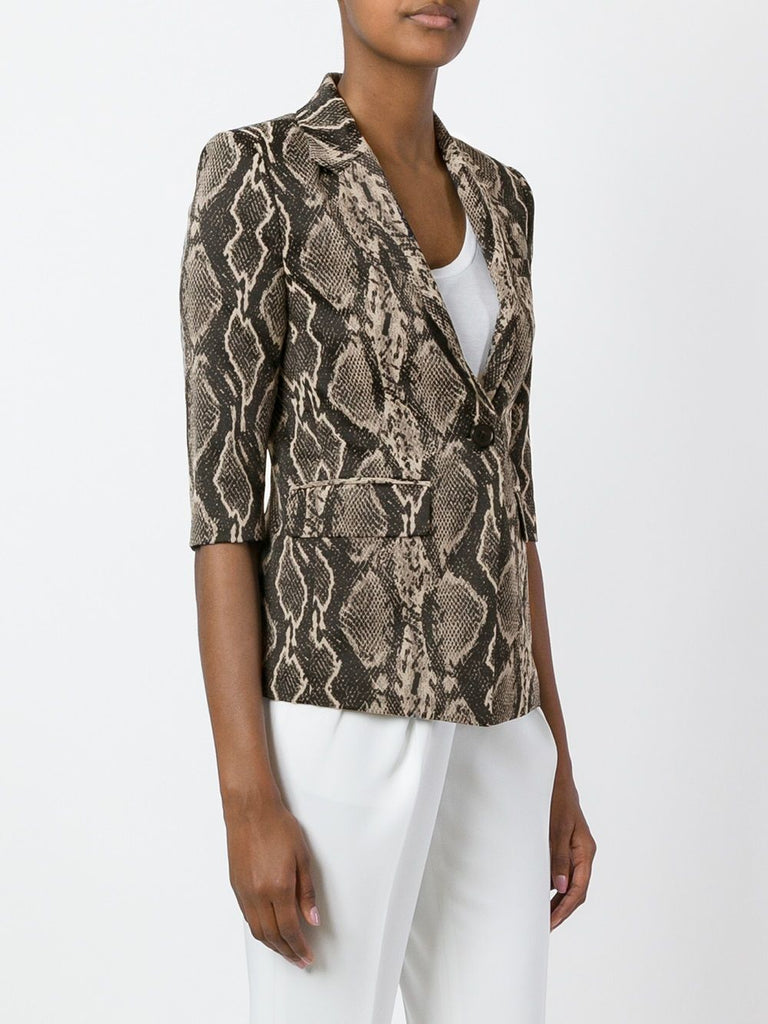 UNCONDITIONAL 2/3rd sleeved woven black on taupe snake jacket