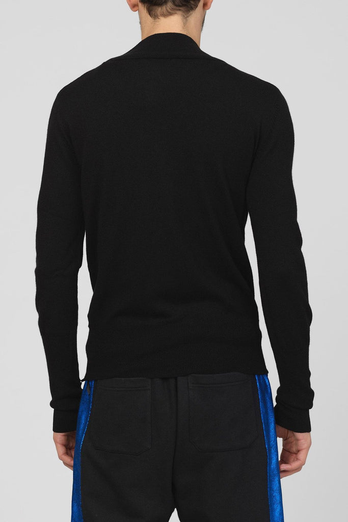 UNCONDITIONAL SS19 BLACK WRAP DEEP V SWEATER WITH HEAVY BORDER