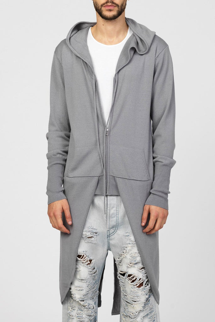 UNCONDITIONAL Steel Grey merino wool ghost hoodie knitted tail coat .