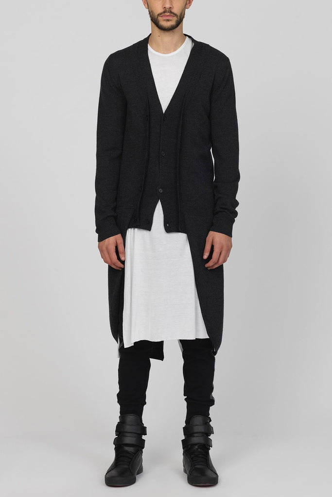 UNCONDITIONAL Anthra merino wool knitted tailcoat cardigan