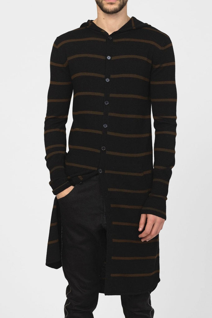 UNCONDITIONAL Black / Tobacco striped long hooded merino wool cardigan. wm413