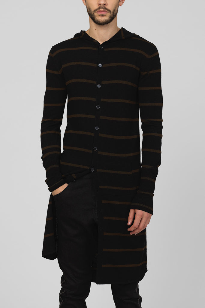 UNCONDITIONAL Black and Petrol striped knitted long hooded cardigan with tail.