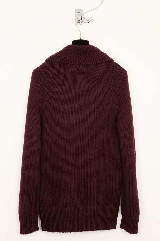 UNCONDITIONAL wm84a Burgundy merino 24 ply fisherman jumper.