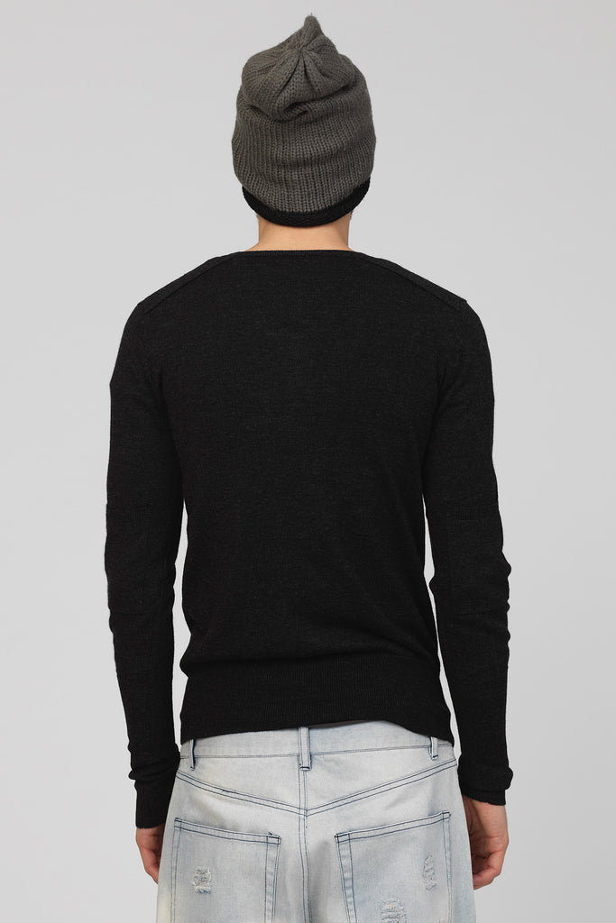 UNCONDITIONAL Charcoal double V-neck jumper with sleeves pocket.