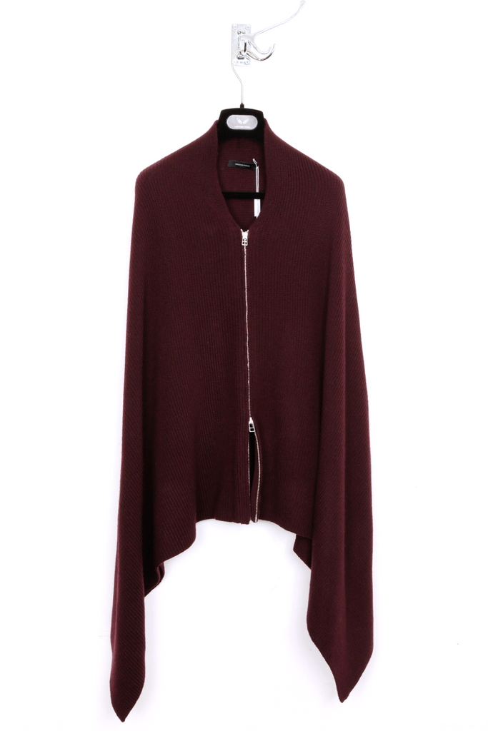 UNCONDITIONAL AW19 BURGUNDY heavy merino knit zip-up cape scarf