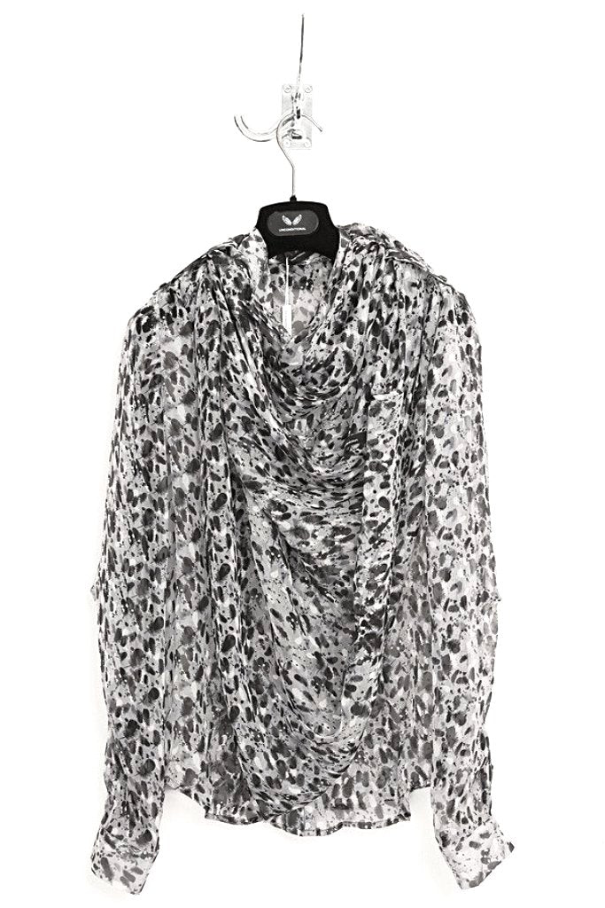 UNCONDITIONAL Grey feather print ladies blouse with detachable scarf.