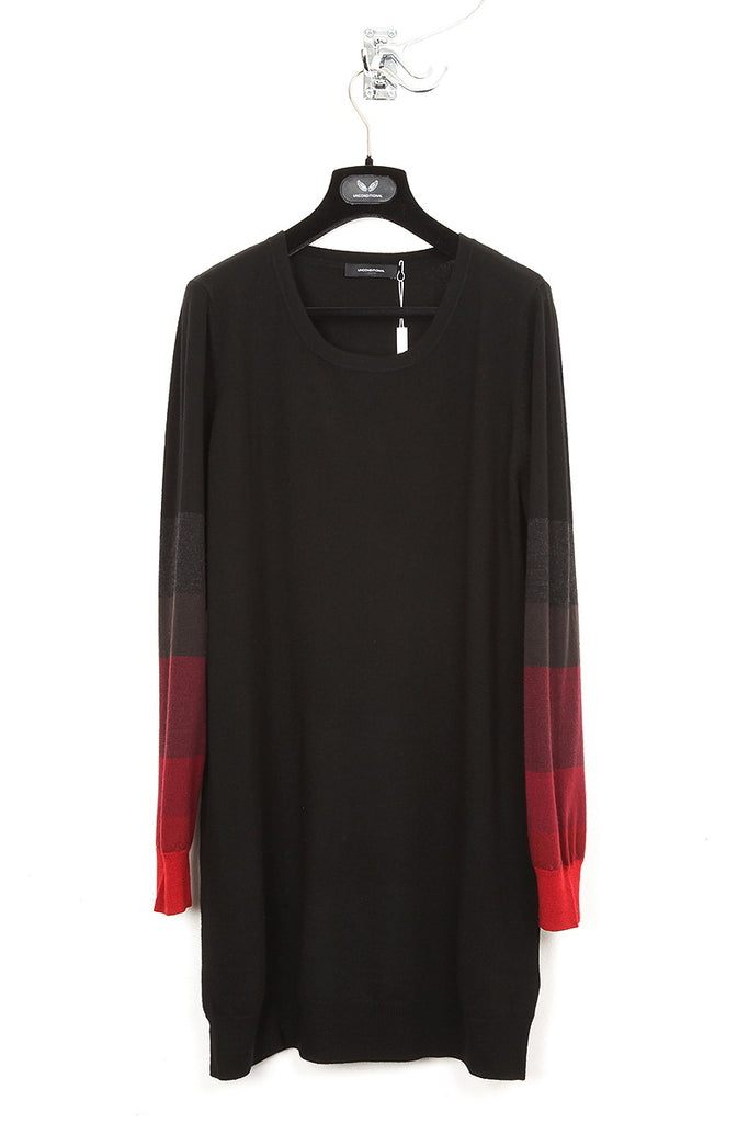 UNCONDITIONAL Black merino dress with red graduated striped sleeves