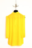 UNCONDITIONAL yellow silk crepe open sided blouse with baby collar.