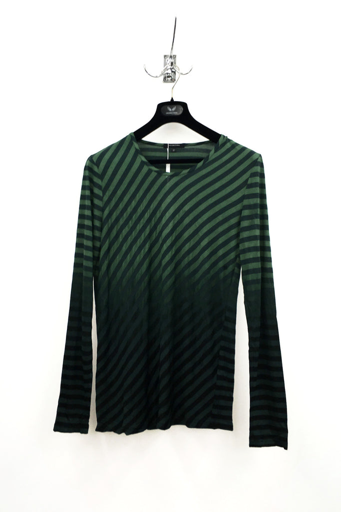 UNCONDITIONAL greenlong sleeve jeresey T-shirt with dip dye black stripes