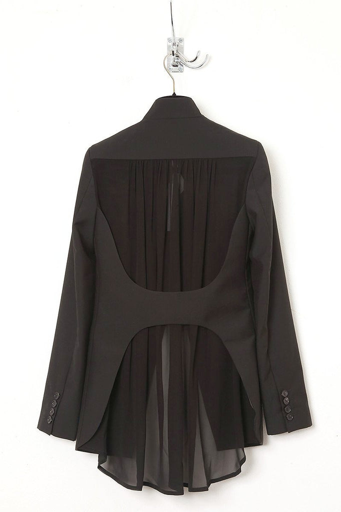 UNCONDITIONAL black and black cutaway jacket with open back silk georgette lined.