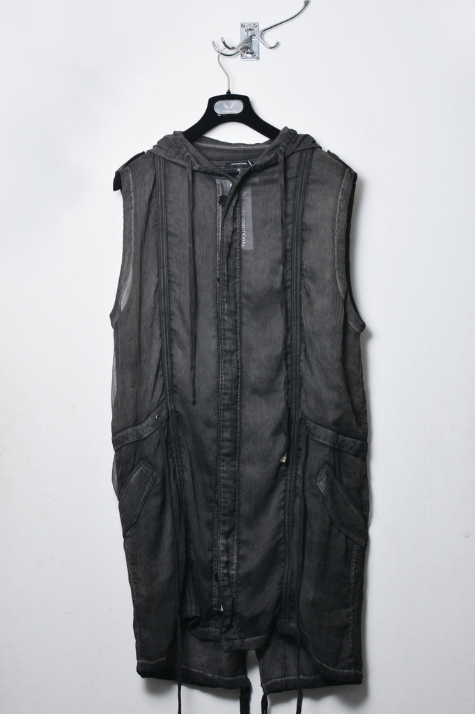 UNCONDITIONAL military cold dye sleeveless hooded parka.